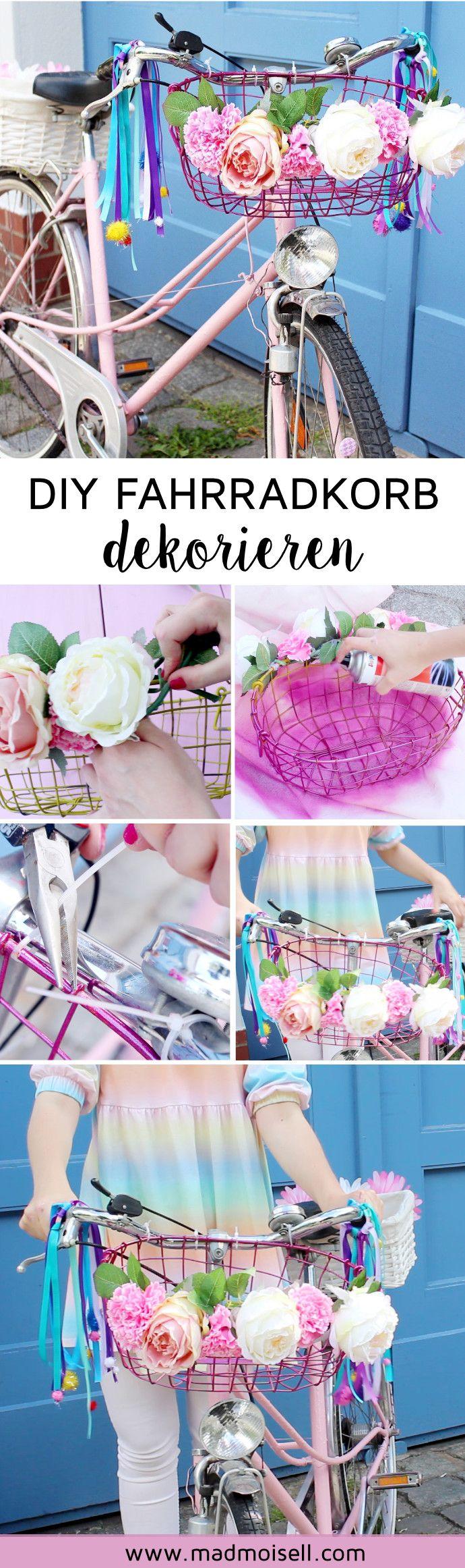 DIY Fahrradkorb selber machen und dekorieren: 4 geniale Ideen, um dein altes Fahrrad im Tumblr-Style aufzupumpen! Du hast noch ein altes Fahrrad im Keller stehen? Perfekt, denn dein altes Rad kannst du ganz easy mit wenigen Schritten in ein tolles DIY Fahrrad verwandeln. Alles, was du dazu brauchst, ist Acrylspray, Blumen und Fahrradkörbe... Fertig ist dein neues Vintage-Rad!