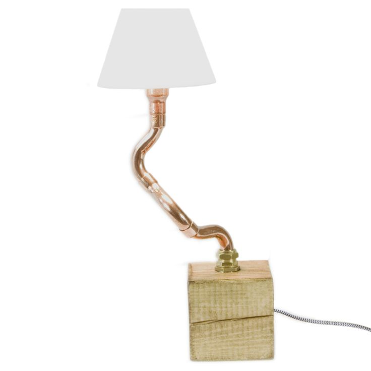 Copper pipe table lamp with lampshade Solid wood base Gie El