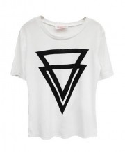 White Oversized Round Neckline T-shirt with Twin Triangle Print