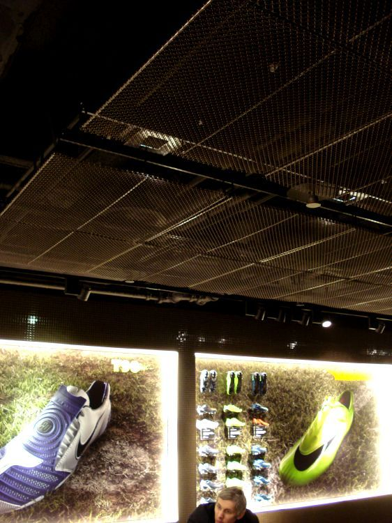 Also Nike used metal mesh #panels for their ceiling. Material type: SIERRA PAPA large 2.
