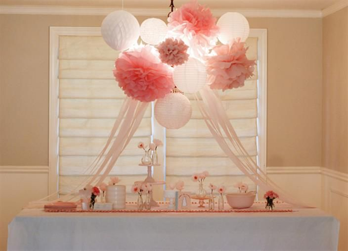 Decoration - tablecloths strung across the ceiling with tissue poms and balloons in the center