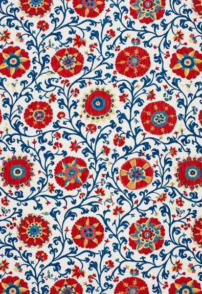 See the World Through Pattern and Colour, Fergana Embroidery Print Schumacher Fabric