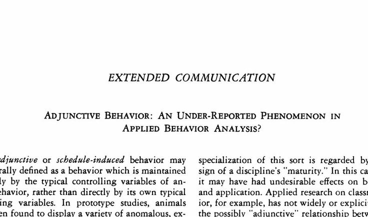 Adjunctive Behavior An UnderReported Phenomenon In Applied