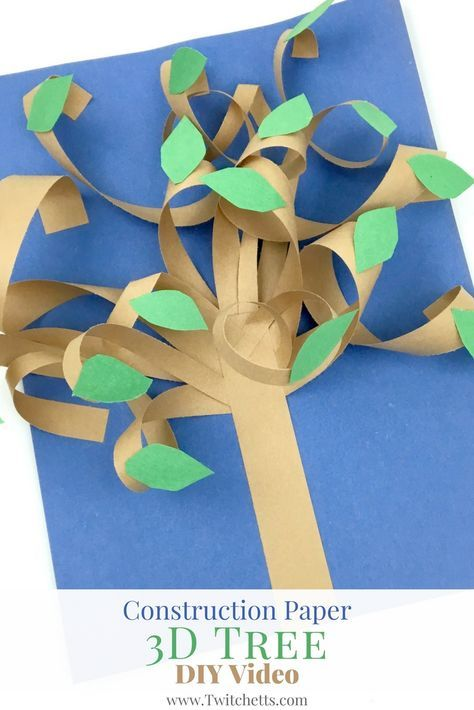 Create these fun 3d paper trees with your little ones. Construction paper crafts for kids are easy to set up for an easy afternoon craft!