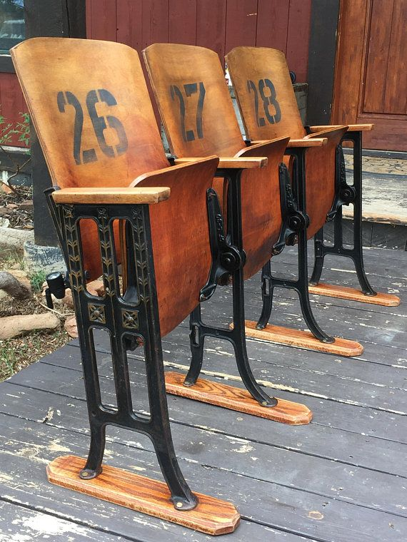 Super Vintage Theatre Chairs Theater Chairs Old Church Pew Church Caraccident5 Cool Chair Designs And Ideas Caraccident5Info