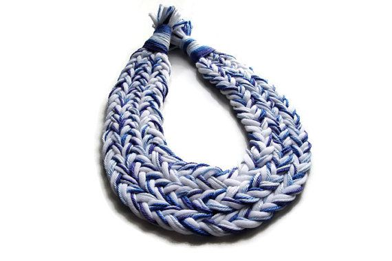 White Blue Braided Necklace African Jewelry by JewelleryHappyDay