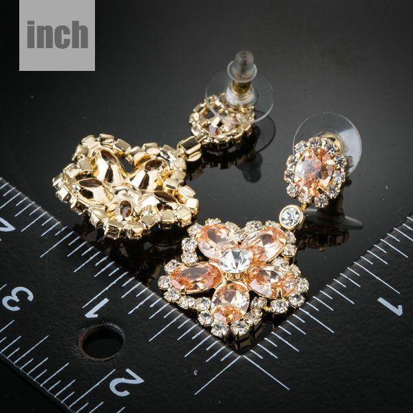 Bridal Orange Earrings Pageant Bridal  Champagne Chandelier Long Drop Earrings #CrystalJewells #Chandelier
