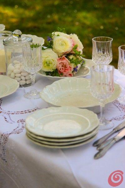 crystal glasses at the white wedding white plates vintage wedding peonies