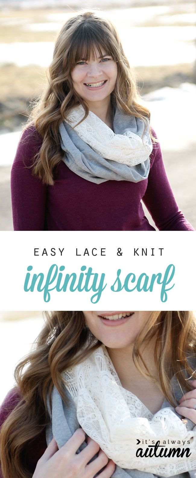 so pretty! learn how to make a soft lace & knit infinity scarf with this easy to follow sewing tutorial