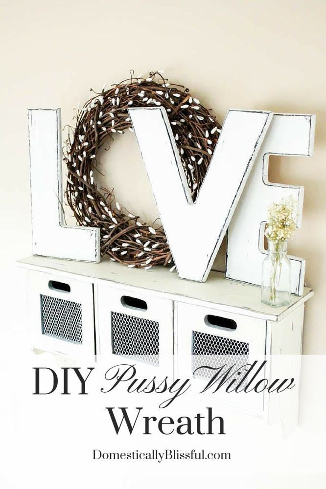 DIY+Pussy+Willow+Wreath  with Q-tip ends on grapevine wreath.  LOVE