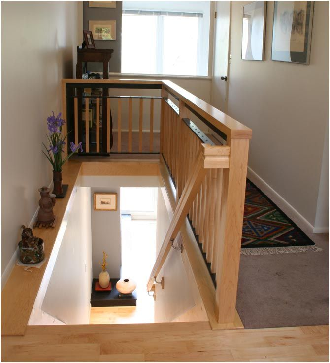 24 best garage stairs images on pinterest banisters for Interior wood railing designs