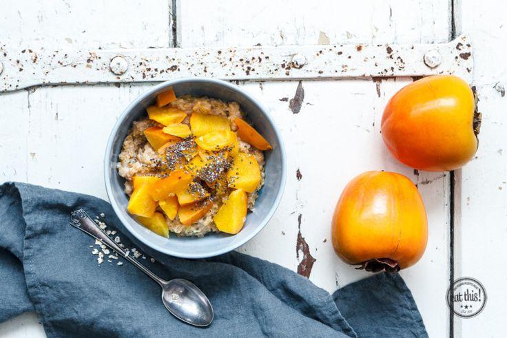 Porridge mit herbstlichem Kaki-Kompott - eat-this.org