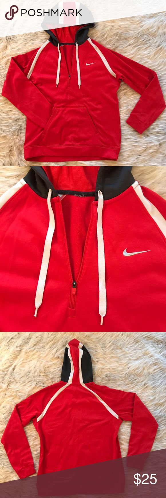 Nike hoodie red small women's Red women's Nike hoodie, tags are cut out but I believe it's a size small, the fabric is kind of slick on the outside like a lot of athletic hoodies are. Great condition Nike Jackets & Coats