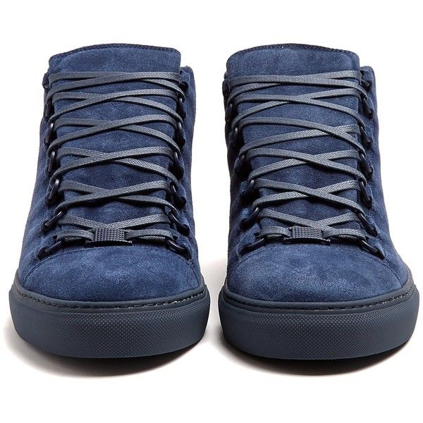 Balenciaga Arena high-top suede trainers ($585) ❤ liked on Polyvore featuring men's fashion, men's shoes, men's sneakers, mens high top sneakers, mens suede sneakers, balenciaga mens shoes, mens suede shoes and balenciaga mens sneakers