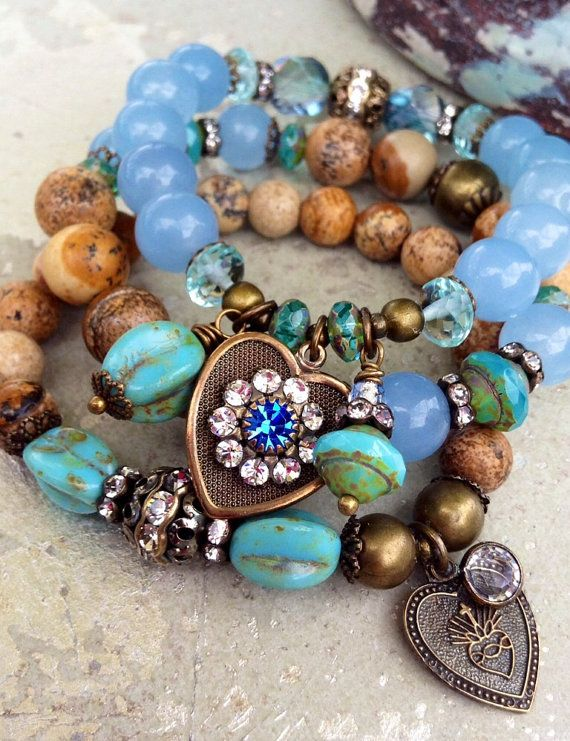 Gemstone Charm Bracelet Stack 3piece Stretch by CountryChicCharms