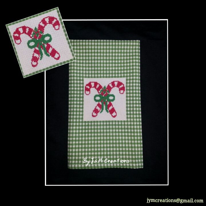 Candy canes! A traditional Christmas icon for our customer's kitchen! - Showcase hand towel - Christmas custom gift idea! #Handmade #crossstitch #handtowel #Craft #Christmasdecor