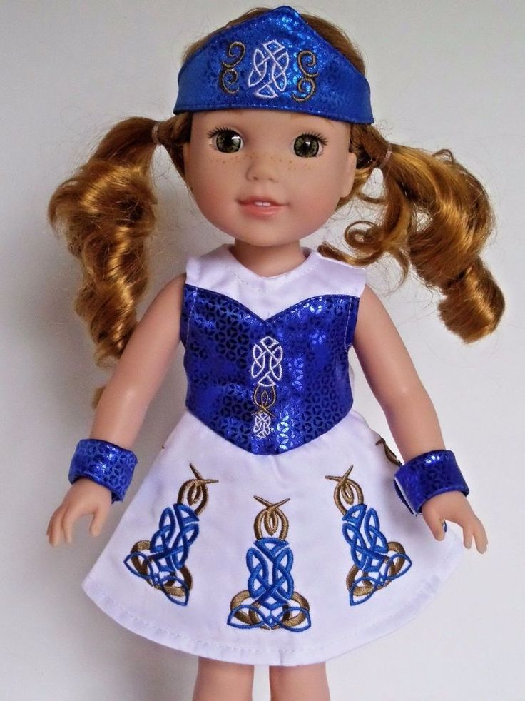 """Clothing fits Wellie Wishers 14.5"""" American Girl Dolls. Blue and white Irish dance dress, wrist cuffs, and headpiece. Doll is for display purposes only and is not included. 