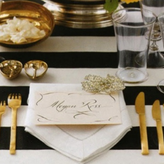 Place setting - gold flatware