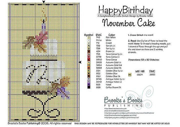 November Birthday Cake Cross Stitch Pattern   Brooke's Books Publishing