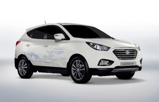 The Hyundai ix35 Fuel Cell runs on compressed hydrogen and emits only water vapor.