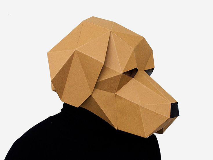 Yellow 3D Paper Dog Mask printable paper templates for DIY Dog Head Mask Men Costume Fancy Halloween Party