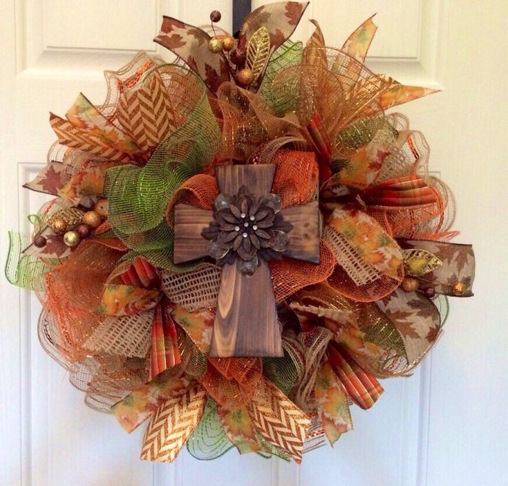 Fall deco mesh wreath, Fall wreath with cross, Autumn wreath, front door wreath, double door wreath - pinned by pin4etsy.com