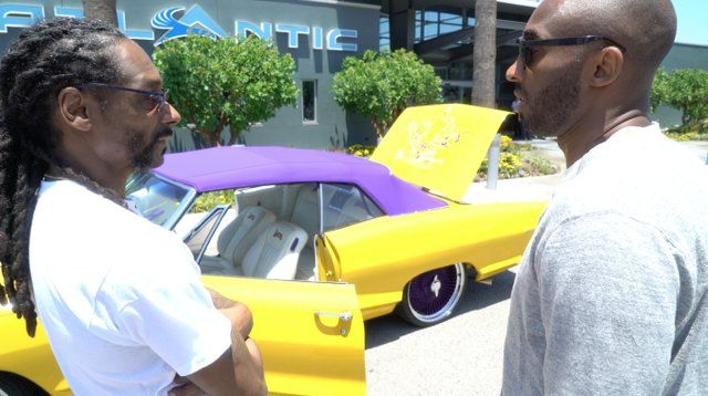 This yellow and purple car was given to Kobe Bryant from his friend Snoop-Dog as a retirement gift.