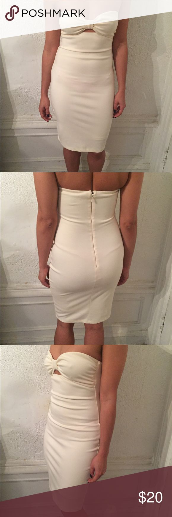 Cream bow detail dress Beige bodycon dress great for any party or function Dresses Mini