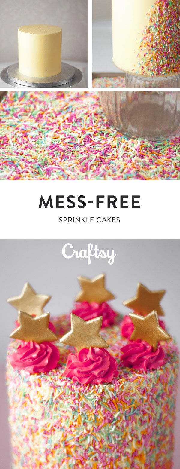 This easy sprinkle cake is so happy and sure to make anyone smile. :) @craftsy