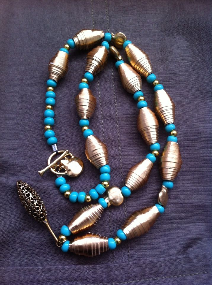 Paper beads with regular beads. For sale!! 45$very beautiful !!! Love it!!!