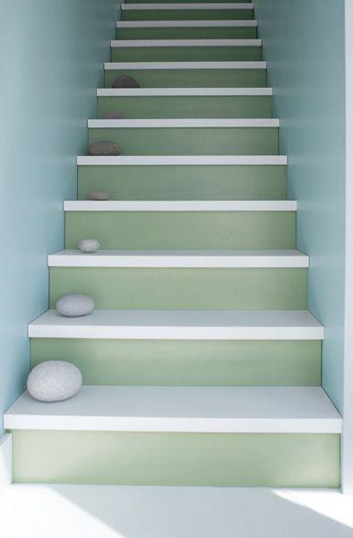 Benjamin Moore Color Trends 2014 - Walls: breath of fresh air 806 Natura Eggshell, Risers: van alen green HC-120 Natura Semi-Gloss, Treads: distant gray 2124-70 Floor