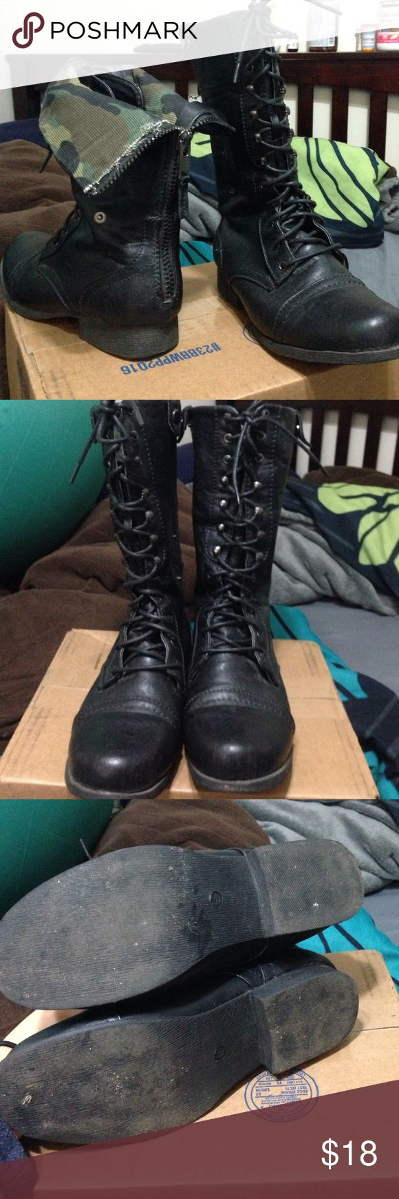 Black camo combat boots adjustable Great condition only worn a couple of times. The boots are adjustable and you can bend the top down and buckle them to show off the camo design on the inside! Shoes Combat & Moto Boots