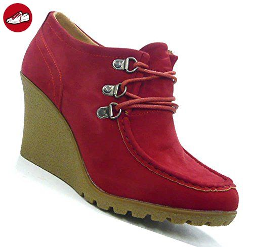 Schuh-City High Fashion Pumps Ancle Boots Wedge Moccasins rot 38 (*Partner-Link)