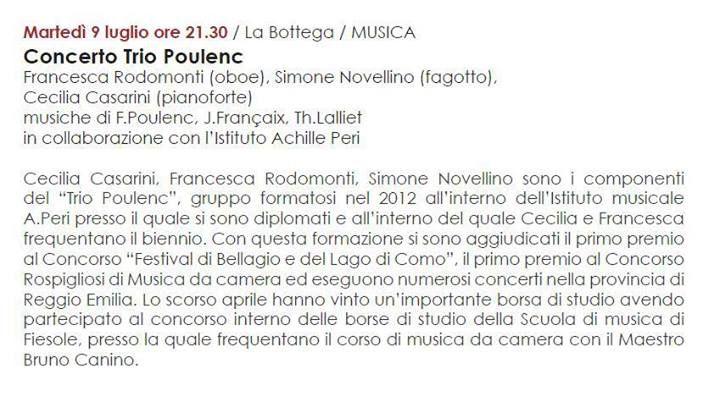 """MARTEDI' 9 LUGLIO ORE 21:30 - II appuntamento de """"LA CLASSICA IN BOTTEGA""""  TRIO POULENC: Francesca Rodomonti (oboe) Simone Novellino (fagotto) Cecilia Casarini (pianoforte) Musiche: F. Poulenc, J. Francaix, H. Lalliet  www.quintaparete.org"""