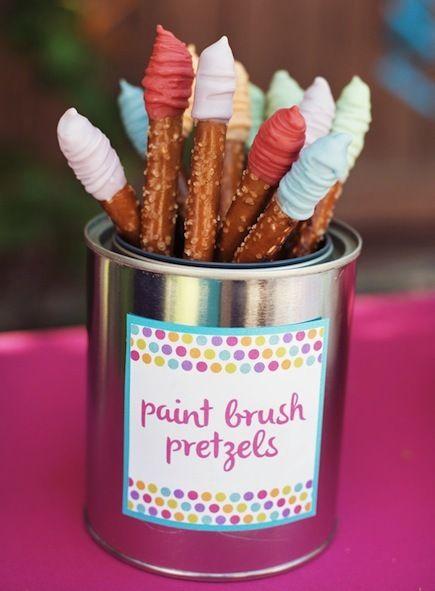 Paint Brush Party Pretzels
