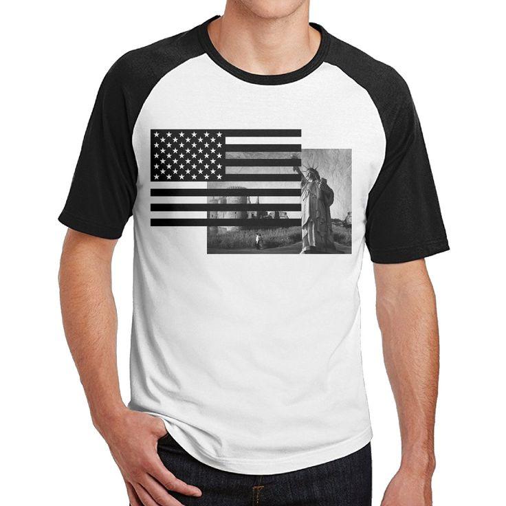Independence day Liberty Statue 4th July shirts Cotton men dress 3/4 Sleeve Raglan