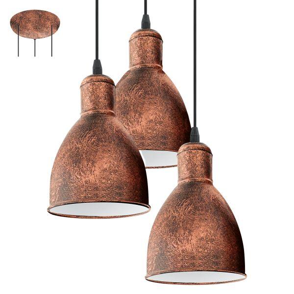 Eglo 49493 Priddy1 3 Light Pendant Antique Copper
