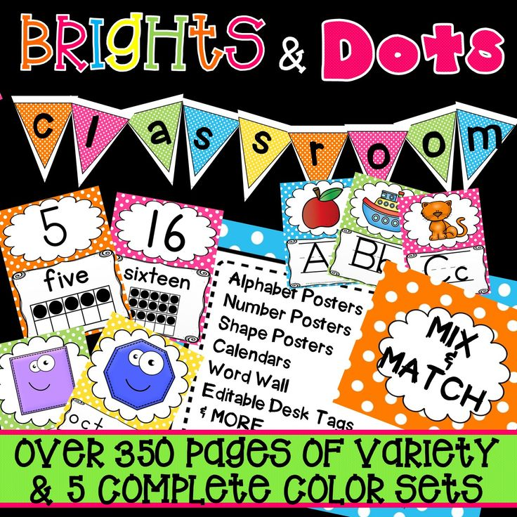 This is a classroom decoration set with bright fun colors.  It has a number line, alphabet posters, shape posters, editable labels and signs, word wall labels, desk tags, banners and more!  These have polka dots that will go with any theme!  You will find that these will go with most kindergarten classroom decorations, first grade classroom decorations, preschool & pre-k classroom decorations or even daycares!