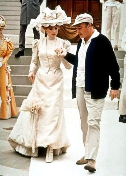 Barbra Streisand and Gene Kelly on the set of Hello, Dolly! (1969)
