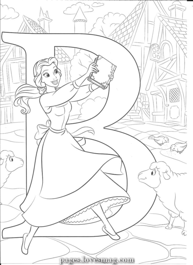 B for Belle Disney coloring pages, Disney princess