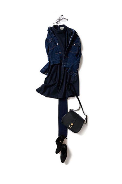 いつもより女らしくしたい日のネイビー 2015-10-15   jacket price :37,800 brand : NO MORE NO LESS   dress price :45,360 brand : VONDEL   bag price :28,350 brand : HIGH-CLASS    shoes brand : sergio rossi