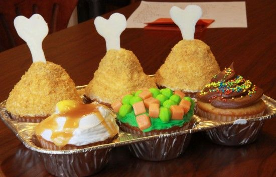 April Fool's Cupcakes– Mock TV Dinner – How to make this darling and extra yummy chicken dinner, veggies, and cupcake complete with recipes.
