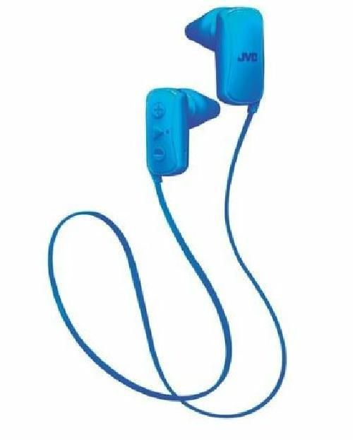 JVC Gumy Blue Bluetooth Wireless Stereo Earbuds with Mic Remote for Smartphone #JVC