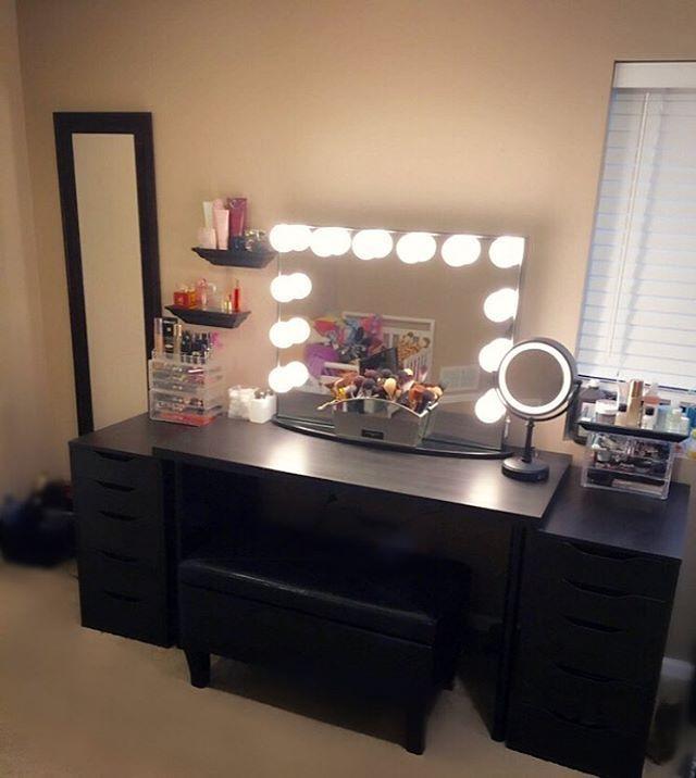 Diy Vanity Mirror Desk, Black Vanity Set With Light Up Mirror