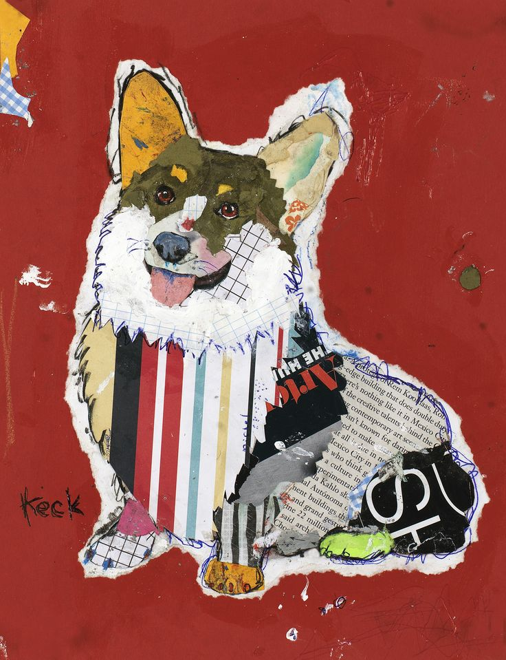 """Title: Pembroke Welsh Corgi - #031303 Size: 8.5"""" X 11"""" Medium: Paper Collage on Paper This is the original collage on paper. Artist signed. It has a black mat and black wooden frame with glass. Giclee                                                                                                                                                                                 More"""
