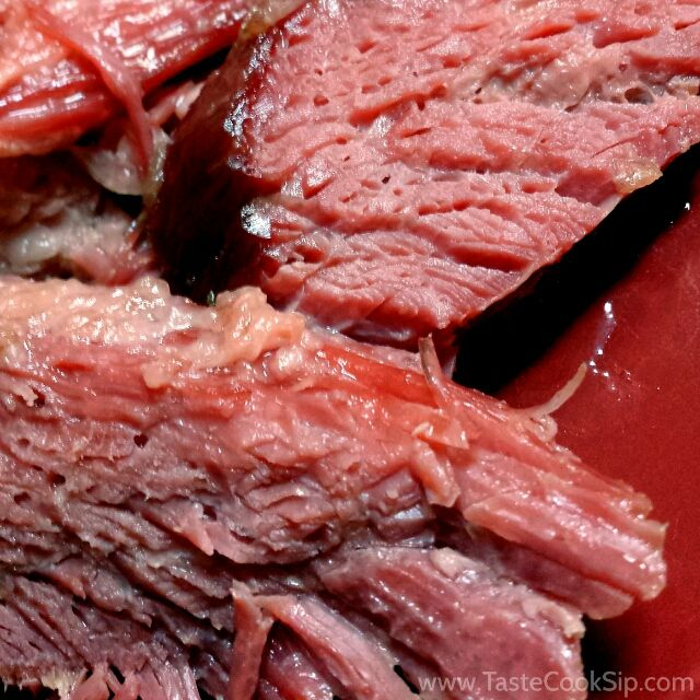 Recipe: Oven-braised corned beef with roasted vegetables. Beef brisket recipe.