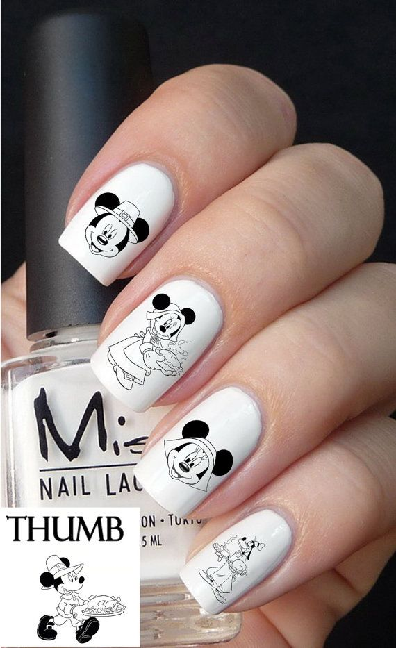 Disney thanksgiving nail decal by DesignerNails on Etsy, $3.95