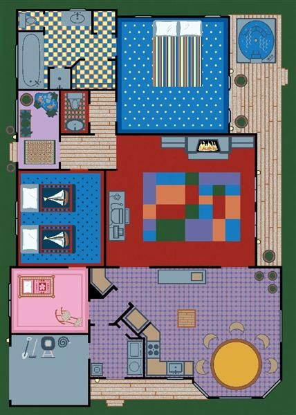 Delightful Play Area Rug Featuring A Full Floor Plan Play House Sure To Inspire Imagination And