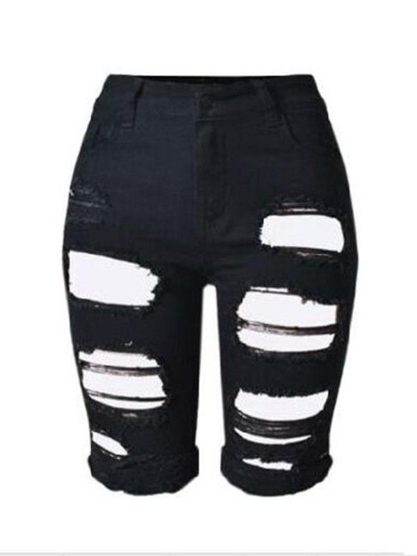 96816c082a Harajuku Denim Ripped Boyfriend Knee Length Short Pants Jeans | nice ...