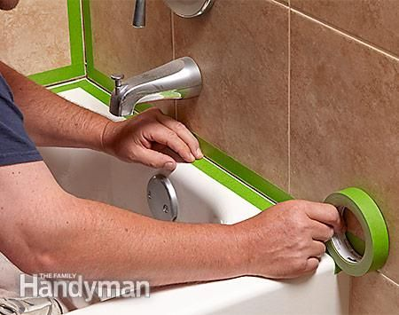 Use masking tape to make a neat line when you recaulk the shower or tub. - How to Re-caulk a Shower or Bathtub: http://www.familyhandyman.com/bathroom/remodeling/how-to-re-caulk-a-shower-or-bathtub/view-all